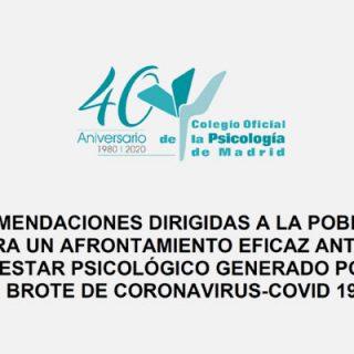 Consejos del Colegio Oficial de Psicología en relación a la crisis del Coronavirus.